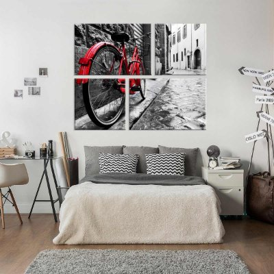 Conjunto de 4 Telas Decorativas em Canvas Bike Red