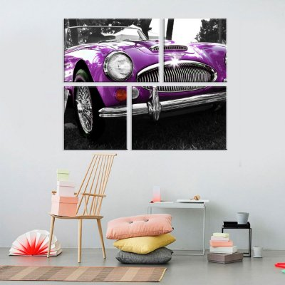Conjunto de 4 Telas Decorativas em Canvas Purple car