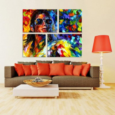Conjunto de 4 Telas Decorativas em Canvas Michael Color