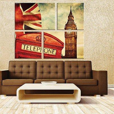 Conjunto de 4 Telas Decorativas em Canvas London
