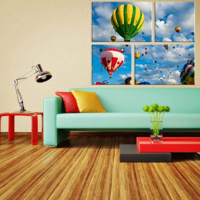 Conjunto de 4 Telas Decorativas em Canvas Ballon Ride