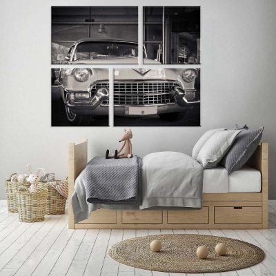 Conjunto de 4 Telas Decorativas em Canvas Love Car