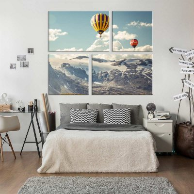 Conjunto de 4 Telas Decorativas em Canvas Hot Ballon
