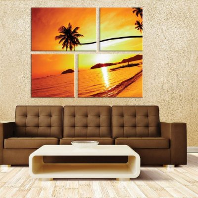 Conjunto de 4 Telas Decorativas em Canvas Por do Sol da Tailandia