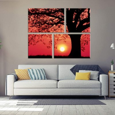 Conjunto de 4 Telas Decorativas em Canvas Por do Sol