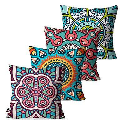 Kit 4 Almofadas Decorativas Mandala Multi color 45cm x 45cm