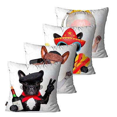 Kit 4 Almofadas Decorativas Dogs 45cm x 45c