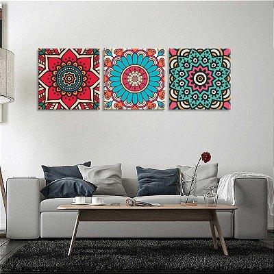 Conjunto de 3 Telas Decorativas em Canvas Mandalas