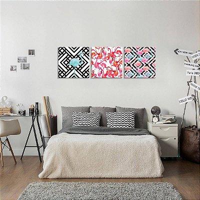 Conjunto de 3 Telas Decorativas em Canvas Flamingos
