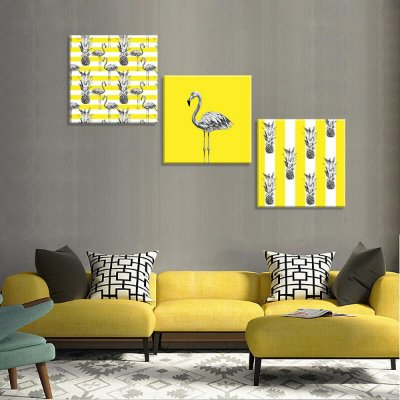 Conjunto de 3 Telas Decorativas em Canvas Flamingos Amarelos