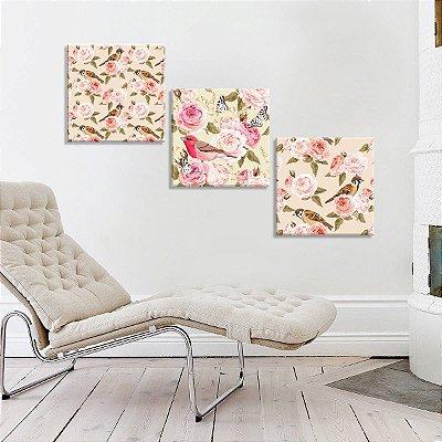 Conjunto de 3 Telas Decorativas em Canvas Floral