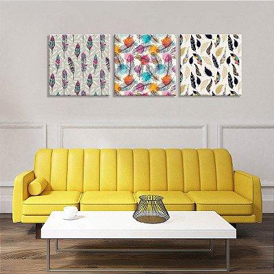 Conjunto de 3 Telas Decorativas em Canvas Penas