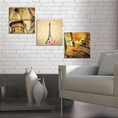 Conjunto de 3 Telas Decorativas em Canvas PARIS