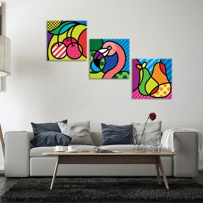 Conjunto de 3 Telas Decorativas em Canvas Homer