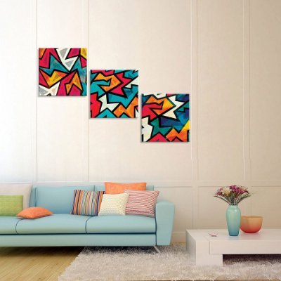 Conjunto de 3 Telas Decorativas em Canvas Abstrato