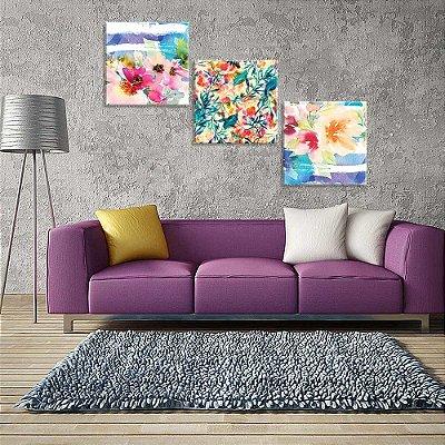 Conjunto de 3 Telas Decorativas em Canvas Florais