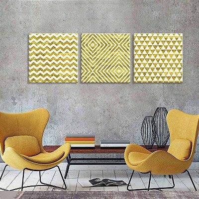 DUPLICADO - Conjunto de 3 Telas Decorativas em Canvas Traços Dourados