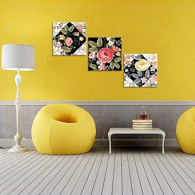 Conjunto de 3 Telas Decorativas em Canvas Traços Flores