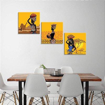 Conjunto de 3 Telas Decorativas em Canvas Mulheres Africanas