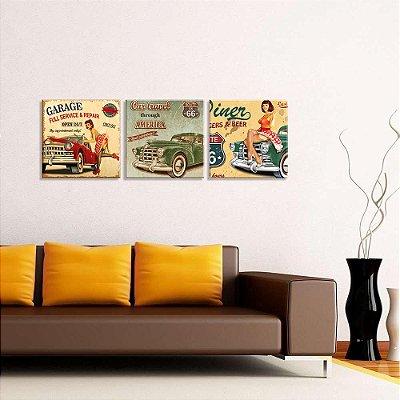 Conjunto de 3 Telas Decorativas em Canvas Vintage