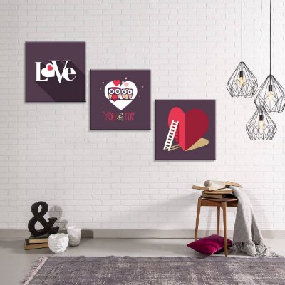 DUPLICADO - Conjunto de 3 Telas Decorativas em Canvas Love