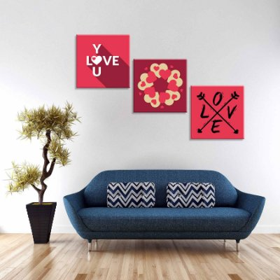 Conjunto de 3 Telas Decorativas em Canvas Love