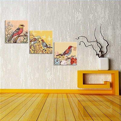 Conjunto de 3 Telas Decorativas em Canvas Pássaros