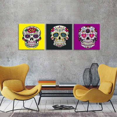 Conjunto de 3 Telas Decorativas em Canvas Caveiras Mexicanas