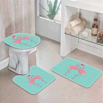 Kit 3 Tapetes Decorativos para Banheiro Flamingos