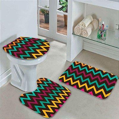 Kit 3 Tapetes Decorativos para Banheiro Geometrico
