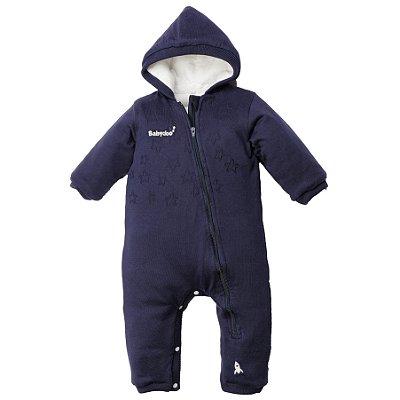 Macacão de tricot azul-marinho com forro, capuz fixo e abertura entre pernas – acompanha body