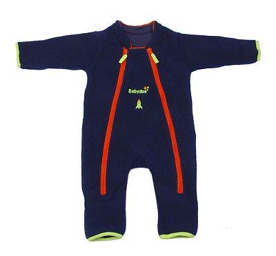 Macacão astronauta Basic Soft Power marinho verde com luvas e meias embutidas – punho virado, dois zíperes frontais.
