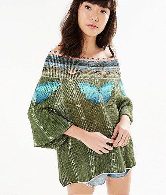 Blusa Farm Sweater Ombro Luz de Borboleta
