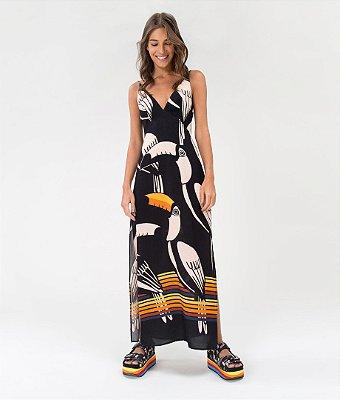 Vestido Farm Longo Tucanos Tropicais