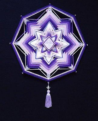 Mandala Lilás e violeta de lã com fitas (30cm)