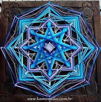 Mandala Força transmutadora 80 cm e 8 pontas bordadas e fitas