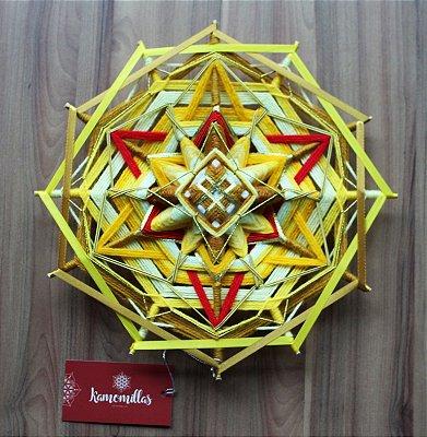 Mandala energia e transformação 30 cm 12 pontas com fitas e sutaches