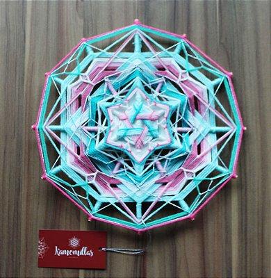 Mandala amor do coração 12 pontas e 3 dimensões 30 cm