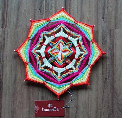 Mandala Multicolorida 8 pontas e 2 dimensões 30 cm