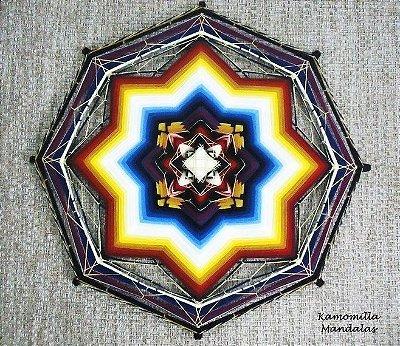 Mandala bordada com sutache elástico em lã, 65 cm