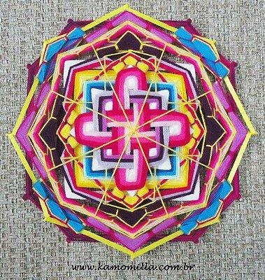 Mandala com painel 16 pontas e 40 cm