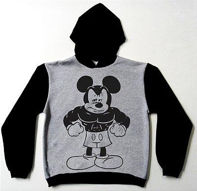Moletom Mickey Mouse bombadão cor Cinza e Preto