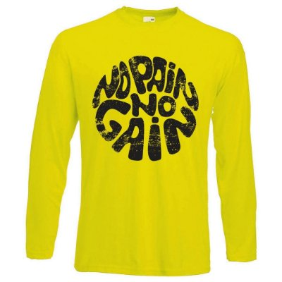 Camiseta Manga Longa No Pain No Gain  Hippie