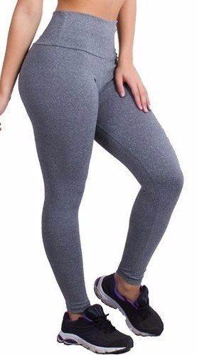 Calça Legging Fitness Cotton Cós Alto Cor Cinza Mescla dois tons