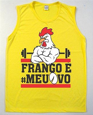 Regata Machão Frango é meu Ovo Cor Amarela