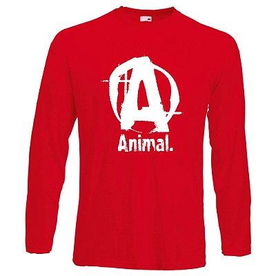 Camiseta Manga Longa Animal Letra A cor Vermelha
