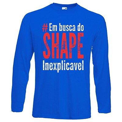 Camiseta Manga Longa em Busca do Shape Inexplicavel com Azul