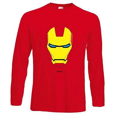 Camiseta Manga Longa Homem de Ferro cor Vermelha