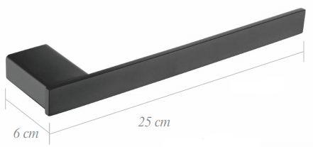 PORTA TOALHA BARRA 25CM - BLACK MATTE - LX7161B