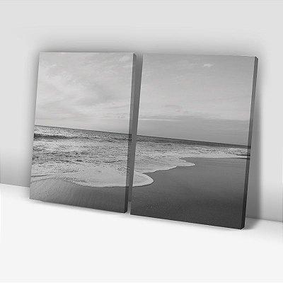 Conjunto de 2 Quadros Decorativos – Entardecer - Preto e Branco